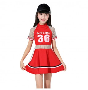 Girls kids hiphop cheerleaders stage performance dresses kids children school show model gogo dancers dancing outfits costumes